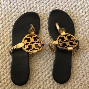 Gold Tory Burch Braided Miller Sandals